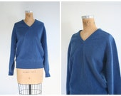 vintage 60s English heritage sweater - mens v neck / Alan Paine - blue lambswool / trad - 50s prep