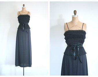 1970s black maxi party dress - organdy tiered ruffles / 70s glamour - Studio 54 dress / vintage bridesmaid dress - 70s maxi prom dress