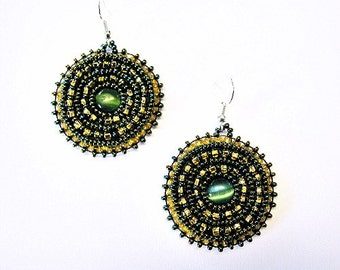 Green and Gold Cats Eye Beaded Embroidered Earrings
