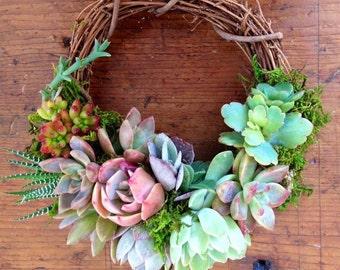 "S 6"", Succulent Wreath, Fairyblooms ""Ava Wreath"", hostess gift, garden decor, wedding decor, bohemian decor, brides maid gift"
