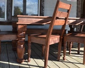 Beautiful Solid WALNUT Country Dining Set Completely Handcrafted With Hand Turned Legs