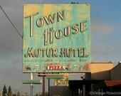 1950s Neon Motel Sign for the Town House Motor Hotel (Fresno, California) - Fine Art Photograph. Neon Sign Road Trip Decor