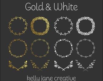 Gold Wreath Clip Art | Wedding Graphics | Wildflower Wreath | Gold Foil Clip Art | Silhouette | Digital Laurels