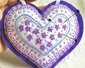 Purple Lavender Heart Pincushion Flowers Valentine Handmade Embroidery Art Ornament  Felt 6 inches x 5 inches