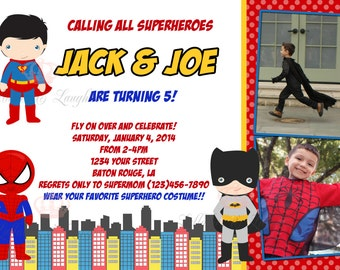 Superhero Birthday Invitation / Super Hero Invitation /  Super Hero Birthday / Batman / Spiderman / Captain America / Twins Digital File 5x7
