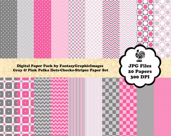 Gray Pink Digital Paper Pack - Polka Dots Checks Stripes Chevrons - 20 Papers - Photography Background DIY Scrapbooking Instant Download