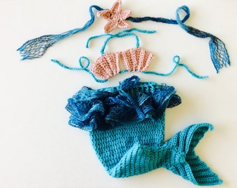 MADE TO ORDER Mermaid Baby set, 3 piece baby photo prop set, Speciall Occasion Photo Prop Set, Custom Sizes