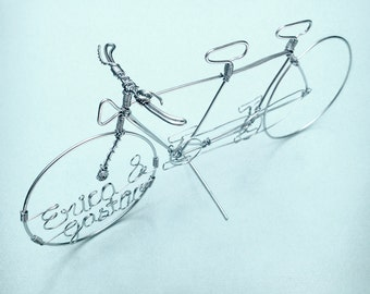 TANDEM BICYCLE - Custom Wire Art - Wedding Cake Topper - Hand Sculpted Detailed Wire Bike - Unique Cyclist or Wedding Decor