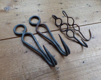 Old FRENCH butcher iron hooks hand forged iron