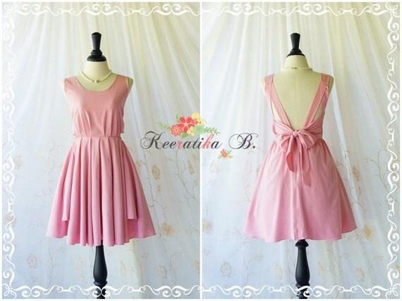 A Party Dress - V Shape Powder Pink Dress Bridesmaid Pink Dress Pink Prom Party Dress Party Backless Dress Cocktail Dresses Custom Made