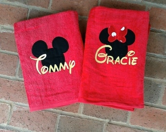Personalized Mouse Head Beach Towels