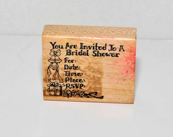 You're Invited to A Bridal Shower  -- Rubber Stamp = Destash