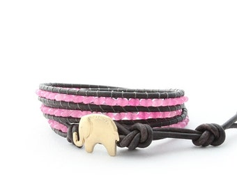 Pink Jade and Gold Leather Wrap Bracelet - Original the Lucky Elephant Design; Sale