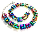 Dichroic Link Necklace - Upside Down Patchwork Fused Glass - Rainbow Red Blue Gold Green Pink - Color Block Layered Square Rectangle Design