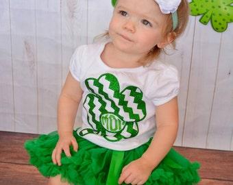 Monogrammed St. Patrick's Day shirt and headband