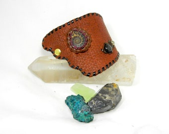 Buffalo Leather Cuff with Ammonite, Rainbow Obsidian, and Pyrite