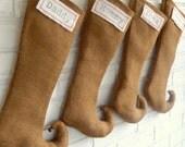 Christmas Stockings Personalized -  Monogrammed Burlap Elf Stockings - Vintage Farmhouse