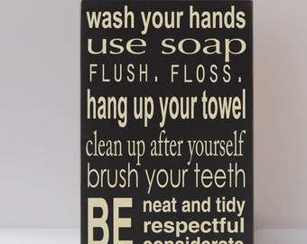 Bathroom Signs To Clean Up After Yourself bath wood sign | etsy