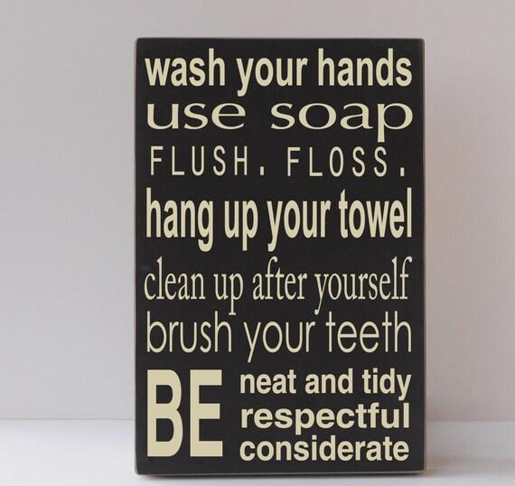 Bathroom Rules, Wood Sign, Rustic Wood Sign, Farmhouse Wood Sign, Bathroom Wall Decor, Bathroom Wall Art, Sign for Bathroom, Bath Sign