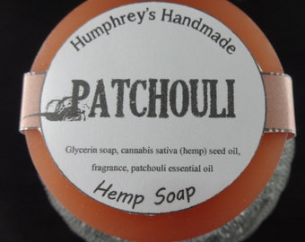 PATCHOULI Hemp Soap, Natural Detergent Free Soap, Brown Round Soap Puck, Hemp Seed Oil Soap, Essential Oil, Musk, Earthy