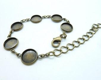 1pcs 12mm-190mm Antique Bronze Brass Bracelet With 12mm GBB Pad C5862