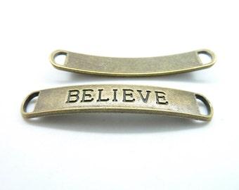 """10pcs 8x50mm Antique Bronze Heavy Letter """"Believe"""" Connector Link C7034"""