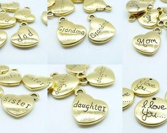 15pcs Antique Gold Heart Charm Pendants 15mm Double Sided - Sister Dad Mom grandma daughter I love you