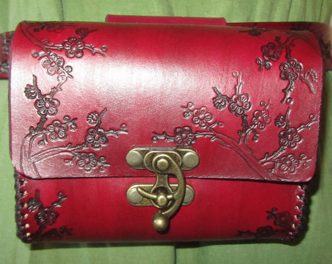 Featured listing image: Customizable Medium Cherry Blossom Design Leather Belt Bag / Pouch Medieval, Bushcraft, LARP, SCA, Costume, Ren Faire
