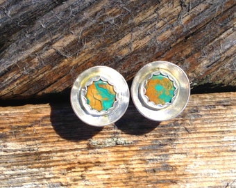 Stone Mountain Turquoise and sterling Silver Stud earrings, native american jewelry, tribal jewelry, bohemian chic, nevada turquoise
