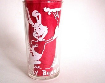 Vintage Buzzy Bunny Glass Tumbler - Blue Plate Peanut Butter 1950's