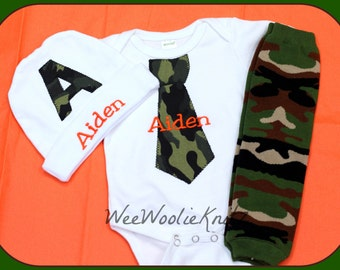 Newborn Personalized Boy CAMO Tie Outfit with Beanie Hat Leg Warmers Baby Shower Coming Home Set