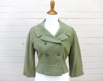 Vintage Bolero Jacket Double Breasted Pea Coat Cropped Pale Moss Green S M