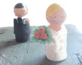 Custom Bride and Groom Cake Topper Bride and Groom Cupcake Topper (Wedding Cake Topper Wood Dolls ) (Bride and Groom Wooden Dolls)