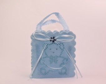 Set of 10 Baby Blue Teddy Christening Favor Pouches- Ideal for boy's christening favor, baby shower favor, party bag