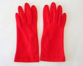 Vintage Bright Red Gloves with Diamond Embroidery on the Top of the Cuff, Embraceable By Fownes Size 6-7