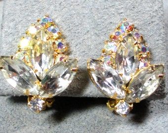 Beautiful High End Vintage Designer Earrings, Aurora Borealis Rhinestone, Marquise Rhinestones