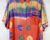 oversize shirt, button down top, 90s orange tie dyed bohemian ethnic blouse, jumper, womens small