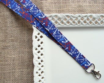 Fabric Lanyard ID -  Multi Colored Anchors on Navy Blue
