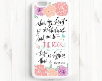 Psalm 61:2 Lead me to the rock that is higher than I. Bible Verse Quote, iPhone 4s 5s 5c 5 6 Plus Case, Galaxy S4 S5 Case, Note 3 4 Qt51