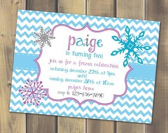 Frozen Inspired Birthday Invitation - Printable PDF