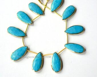 Blue Turquoise Howlite Elongated Pear Briolette Pendant with Vermeil Gold Bezel 27x13mm