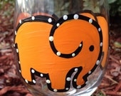 Orange Elephant Painted Wine glass