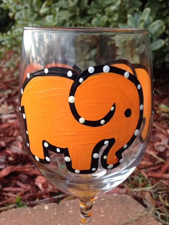 Orange Elephant Painted Wine glass
