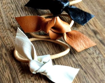 Leather knot ponytail holder, Hair Ties, Hair Accessories