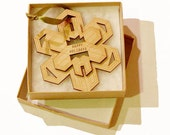 Personalized Ornament Geometric Wood Snowflake