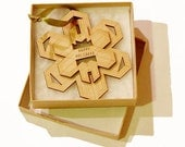 Personalized Ornament Geometric Wood Snowflake