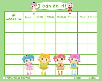 PRINTABLE Personalized Child Behavior Incentive/Chore Chart LaLa Dolls - Printable JPEG or PDF