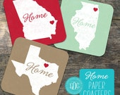 Personalized Coasters State Art Paper Coasters- Many Colors Available- Bar Coasters- State Love Coasters