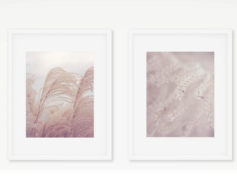 Nature Photography, Fountain Grass Art Botanical Print, Pastel Art Set, Pink and Gray Art, Neutral Wall Art, Shabby Chic Art, Dreamy Art