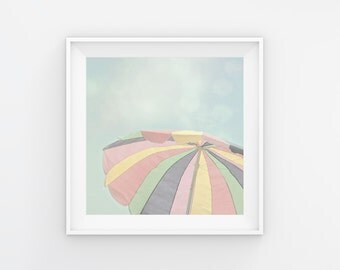Beach Umbrella Art, Beach Print, Pastel Beach Photography, Beach Umbrella Print, Beach Scene, Beach Decor, Umbrella Art, Summer Print Art